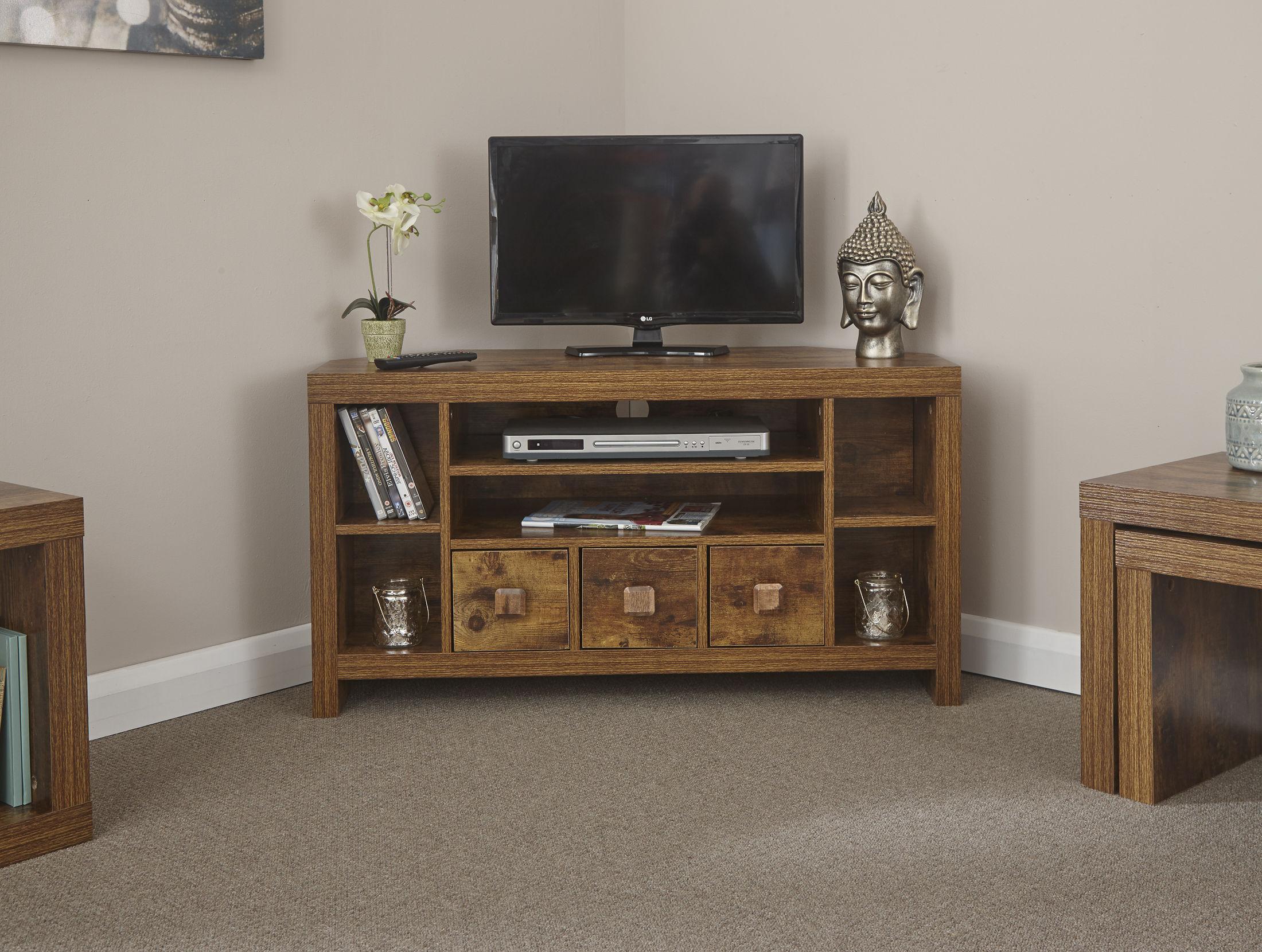 Jakarta mango wood living room furniture corner tv unit table uk free delivery ebay for Corner units living room furniture