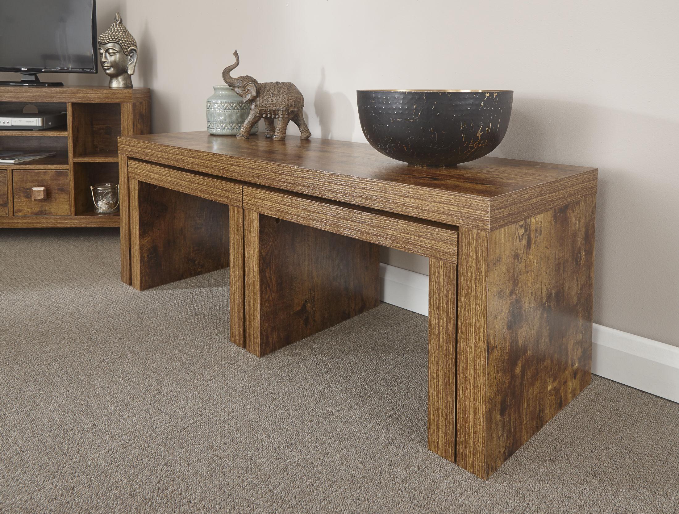 Jakarta Mango Wood Living Room Furniture Nest Tables UK Free