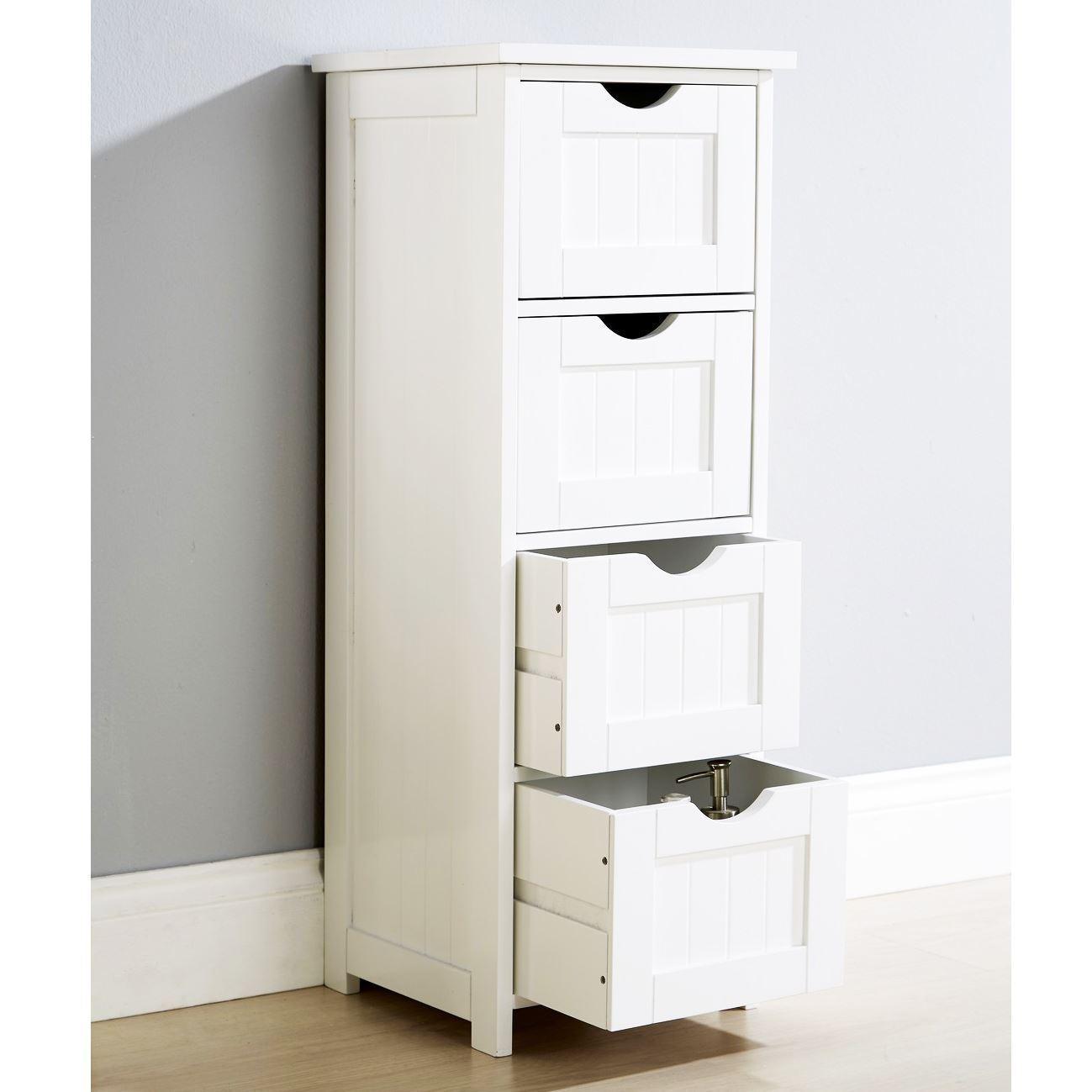 MODERN SHAKER BALTIMORE WHITE 4 DRAWER STORAGE BATHROOM CABINET CUPBOARD WOODEN 3364268488299