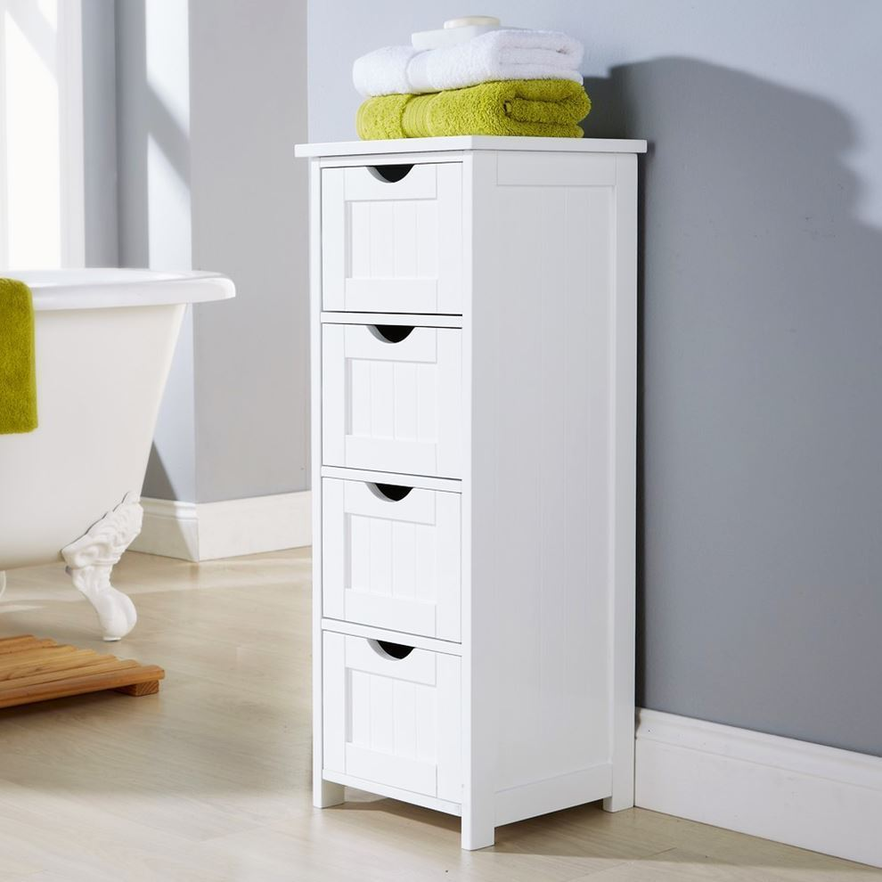 Modern shaker baltimore white 4 drawer storage bathroom for Bathroom furniture drawers