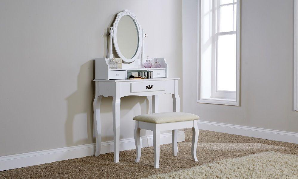 Victorian Antique Style White Lumberton Dressing Table