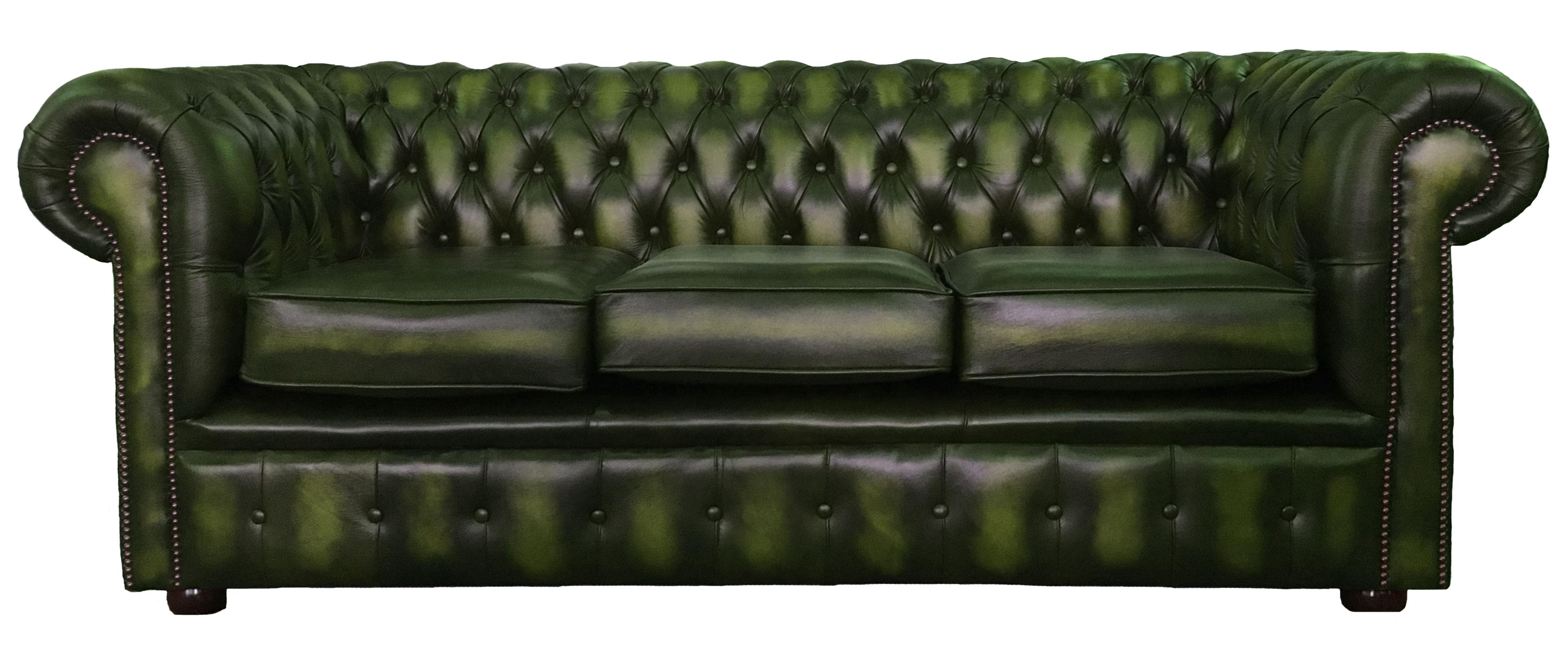 Schön Sofa Grün Galerie Von 100 Echtleder Chesterfield 3- Sitzer Antik Gruen