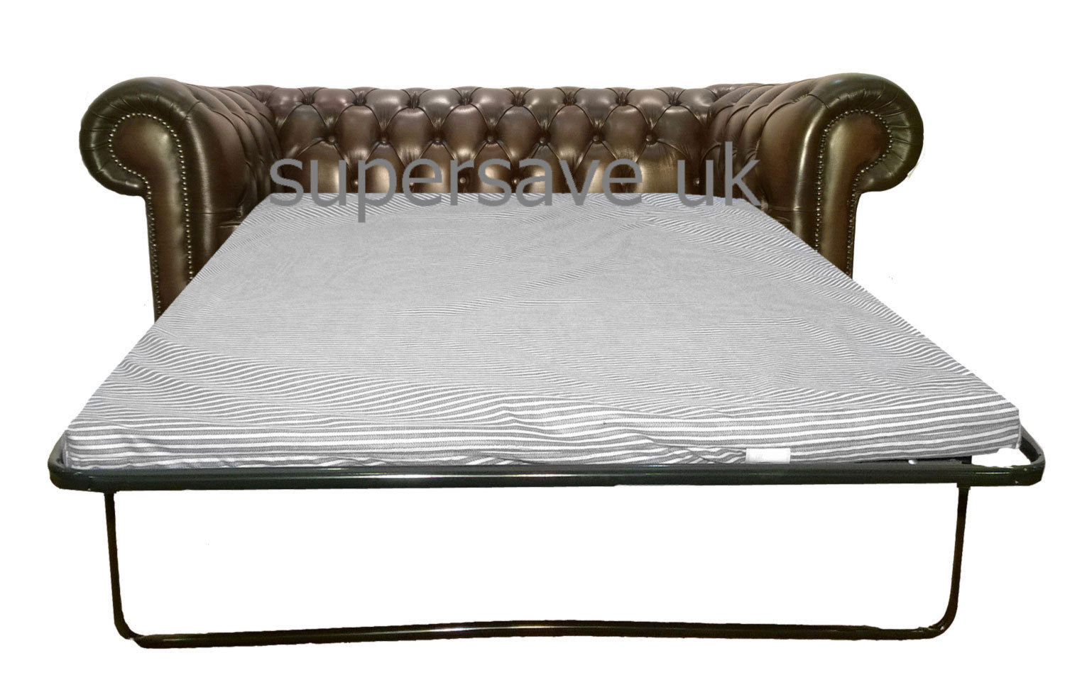 Traditional chesterfield two seater sofa bed genuine for Traditional leather sofa bed