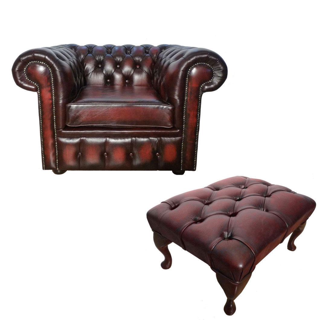 100 echtes leder chesterfield club sessel mit fu hocker. Black Bedroom Furniture Sets. Home Design Ideas