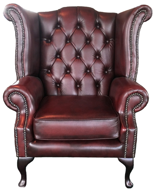 fauteuil chesterfield queen anne 100 cuir v ritable rouge. Black Bedroom Furniture Sets. Home Design Ideas