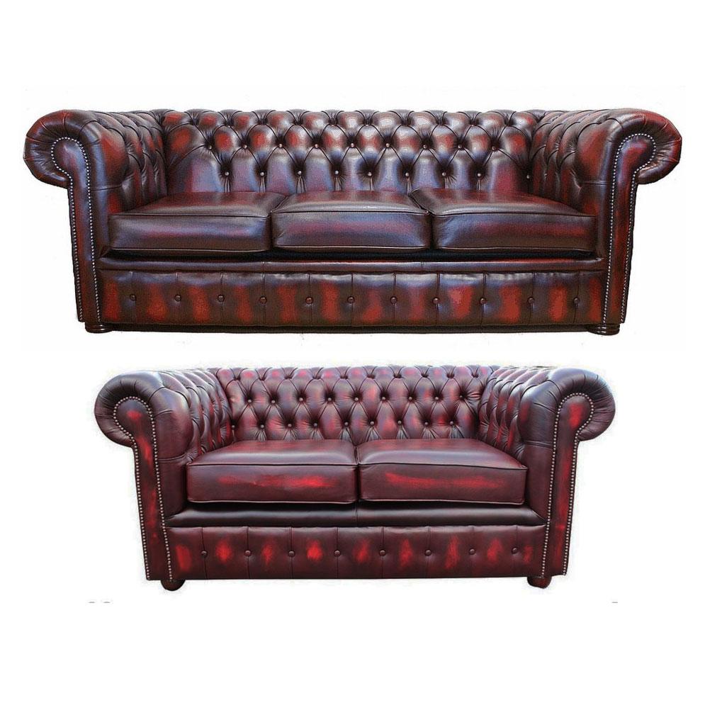 Canap chesterfield en cuir v ritable trois et deux places - Canape chesterfield rouge cuir ...