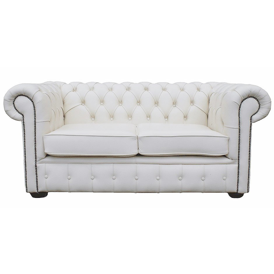 Details About Chesterfield 100 Pure Leather Two Seater Sofa Sy White Vintage Uk Handmade