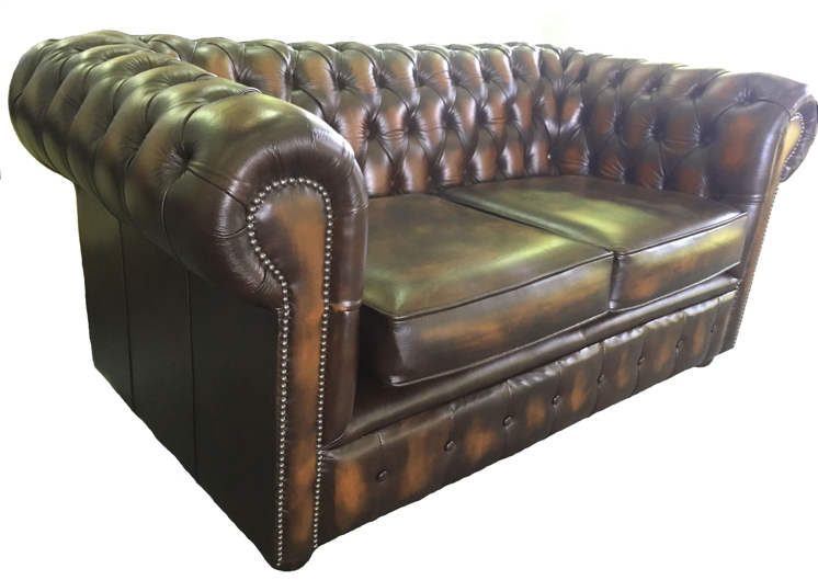 Chesterfield Leather Two Seater Sofa Antique Brown Ebay