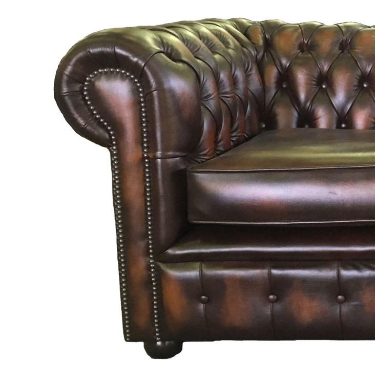 Lit canap chesterfield en cuir v ritable duex places brun - Lit cuir veritable ...