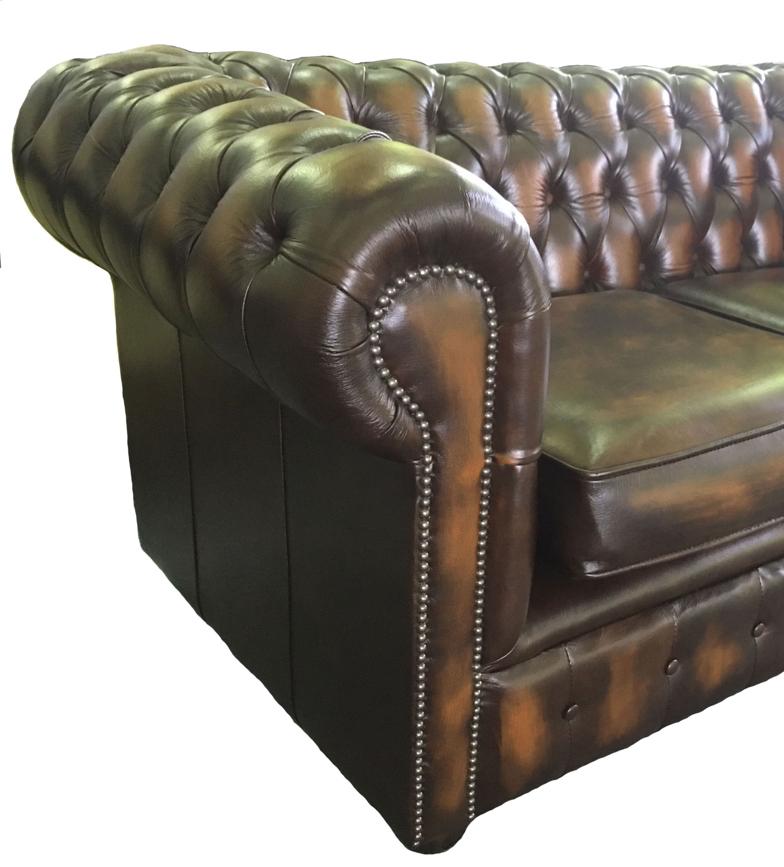 Lit canap chesterfield en cuir v ritable duex places brun antique ebay - Lit chesterfield cuir ...