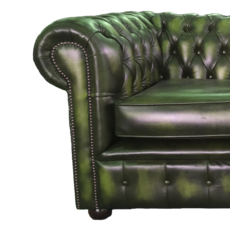 lit canap chesterfield en cuir v ritable duex places vert antique ebay. Black Bedroom Furniture Sets. Home Design Ideas