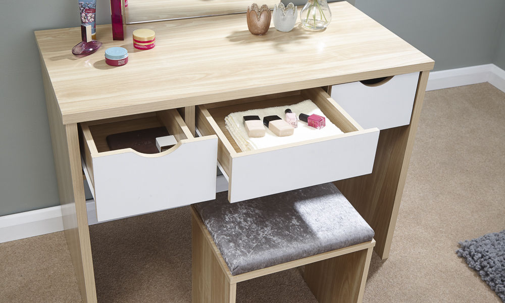 White Bedroom Set With Dressing Table: Shabby Chic Contemporary Elizabeth Dressing Table Set In