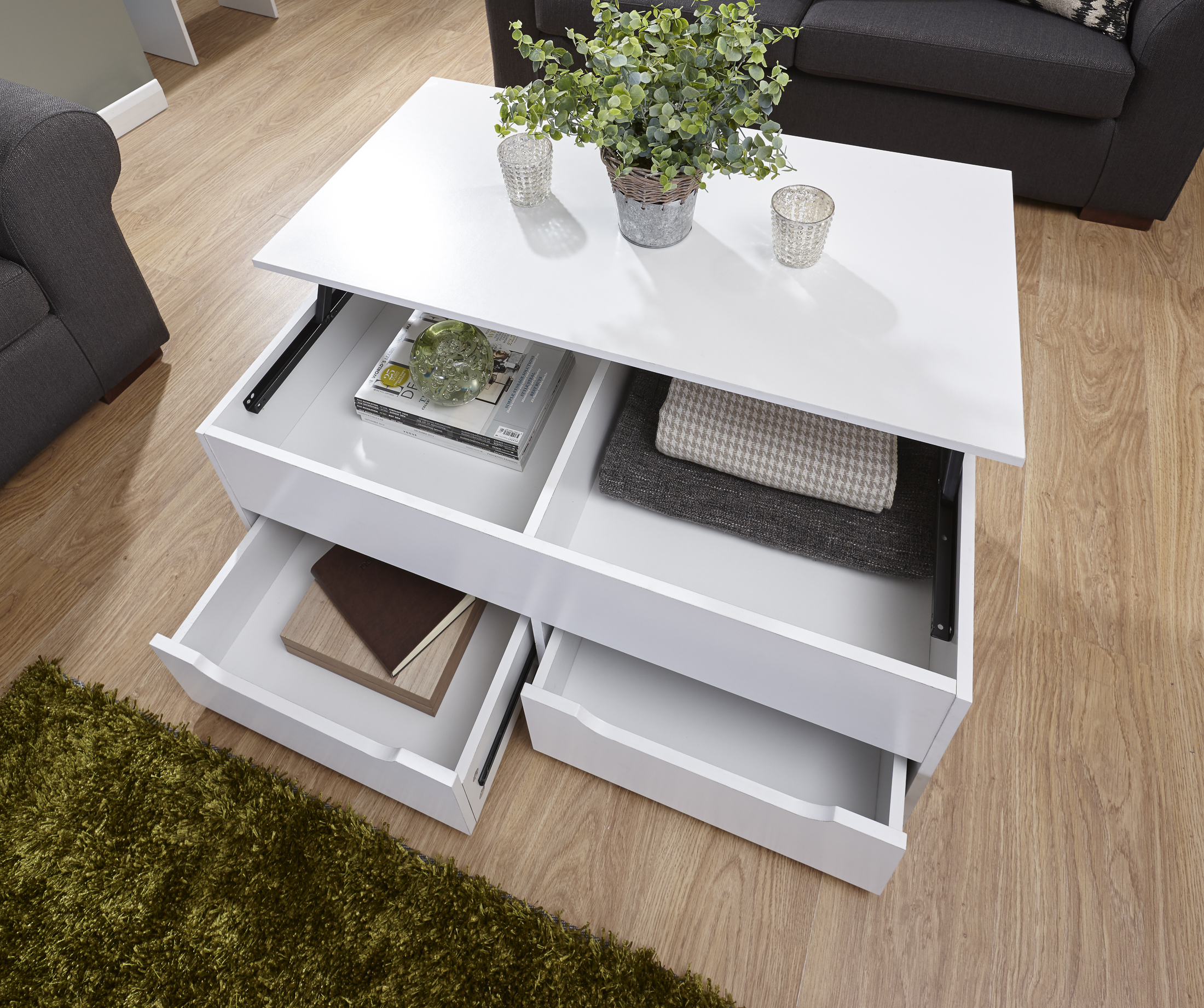 New Ultimate Storage Coffee Table Living Room In Oak, White, Walnut ...