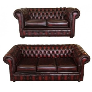 Chesterfield Antique Oxblood Genuine Leather Three + Two + 1 Club Chair Room Set