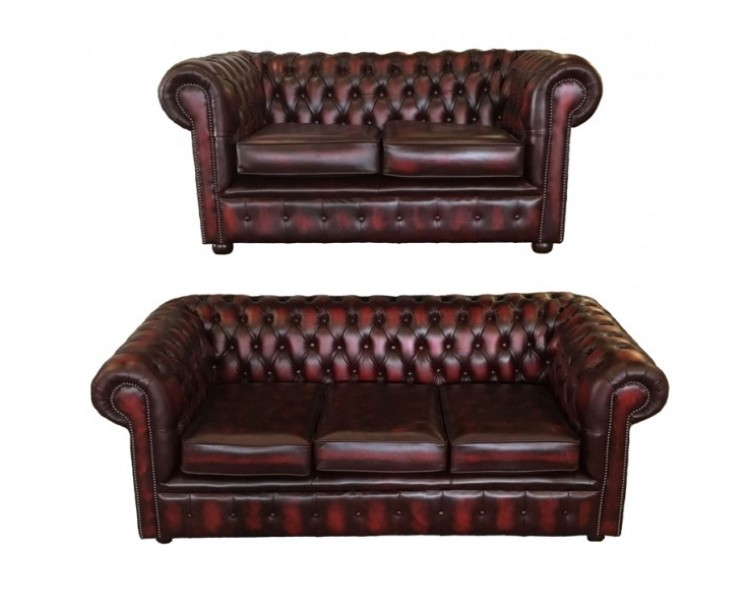 Chesterfield Red Real Leather 3 + 2 + 1 Club Chair Room Set
