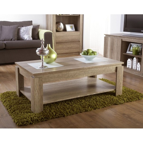 Canyon Oak 3D Effect Coffee Table with Under shelf