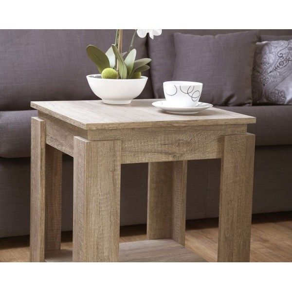 Canyon Oak 3D Effect Lamp Table with Under shelf