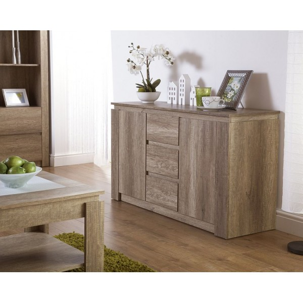 Canyon Oak 3D Effect Sideboard Contemporary Design