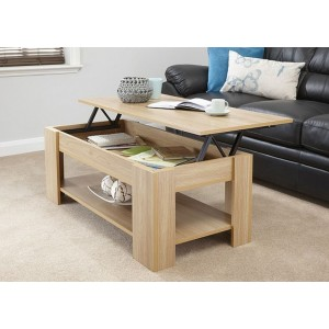 Lift Up Storage Coffee Table Oak Finish