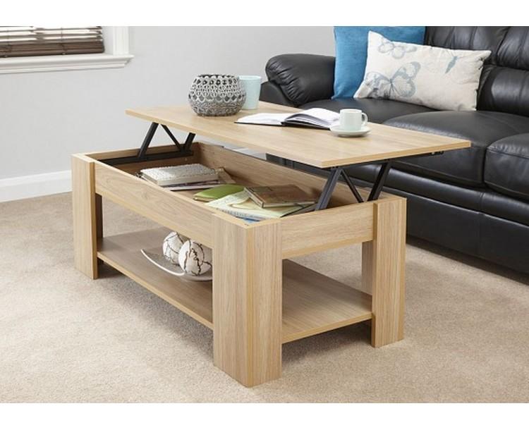 Lift Up Storage Coffee Table Oak Finish