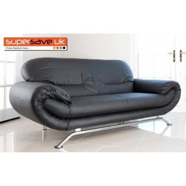Florence Black 3 Seater Future Sofa Modern Quality Faux Leather