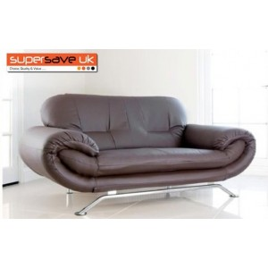 Florence Brown 3 Seater Future Sofa Modern Quality Faux Leather