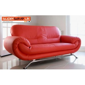 Florence Red 3 Seater Future Sofa Modern Quality Faux Leather