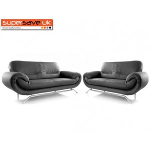 Florence Black 3+2 Two Piece Suite Future Sofa Modern Faux Leather