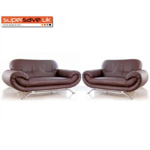 Florence Brown 3+2 Two Piece Suite Future Sofa Modern Faux Leather