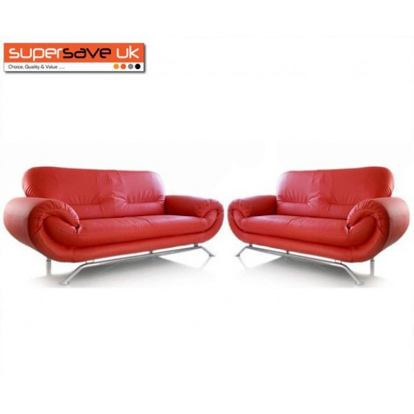 Florence Red 3+2 Two Piece Suite Future Sofa Modern Faux Leather