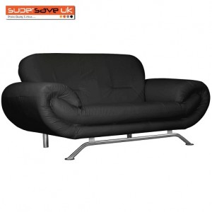 Florence Black 2 Seater Future Sofa Modern Quality Faux Leather