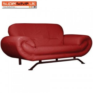 Florence Red 2 Seater Future Sofa Modern Quality Faux Leather