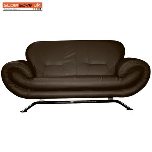 Florence Brown 2 Seater Future Sofa Modern Quality Faux Leather