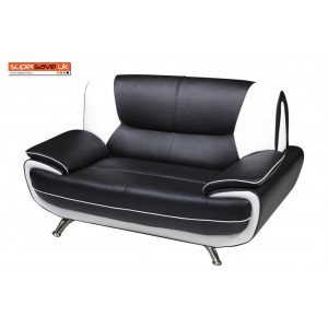 Lewis Black & White Faux Leather Two Seater Sofa