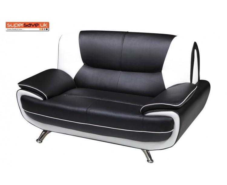 Lewis Black & White Faux Leather Two Seater Sofa