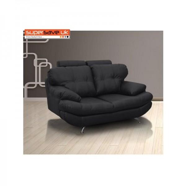 Verona 2 Seater Sofa Black Faux PU Leather New Modern Contemporary