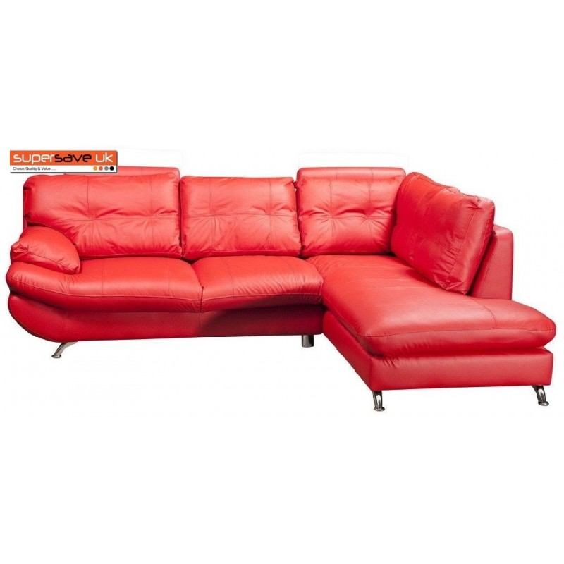 Verona Right Corner Sofa Red Faux PU Leather Contemporary