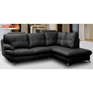 Verona Right Corner Group Sofa Black Faux PU Leather Modern