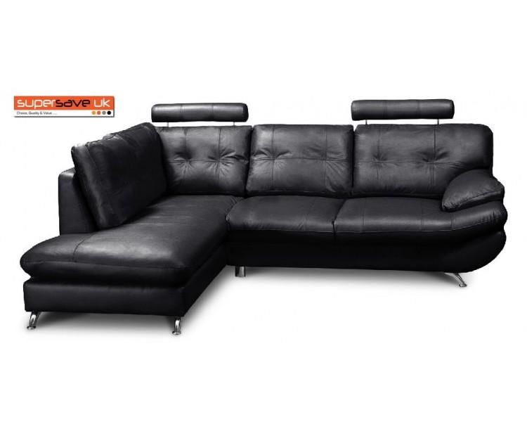 Verona Left Corner Group Sofa Black Faux PU Leather Modern