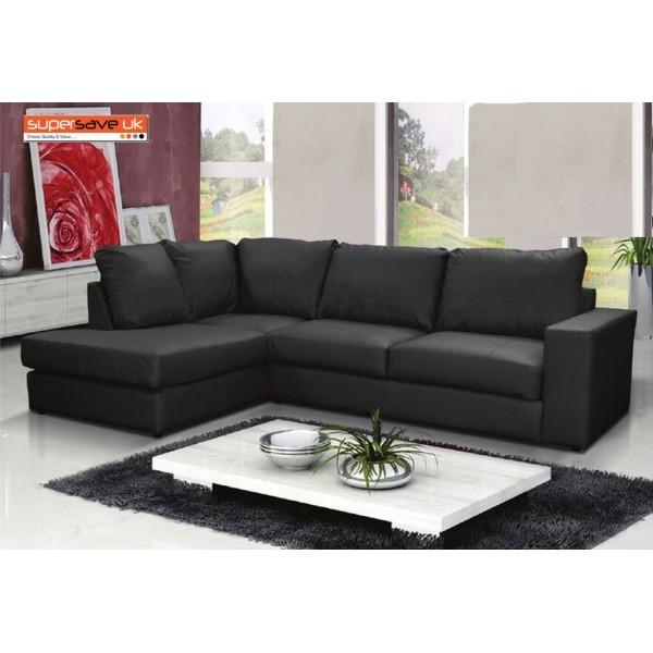 Venice Left Corner Group Sofa Black Faux PU Leather Modern
