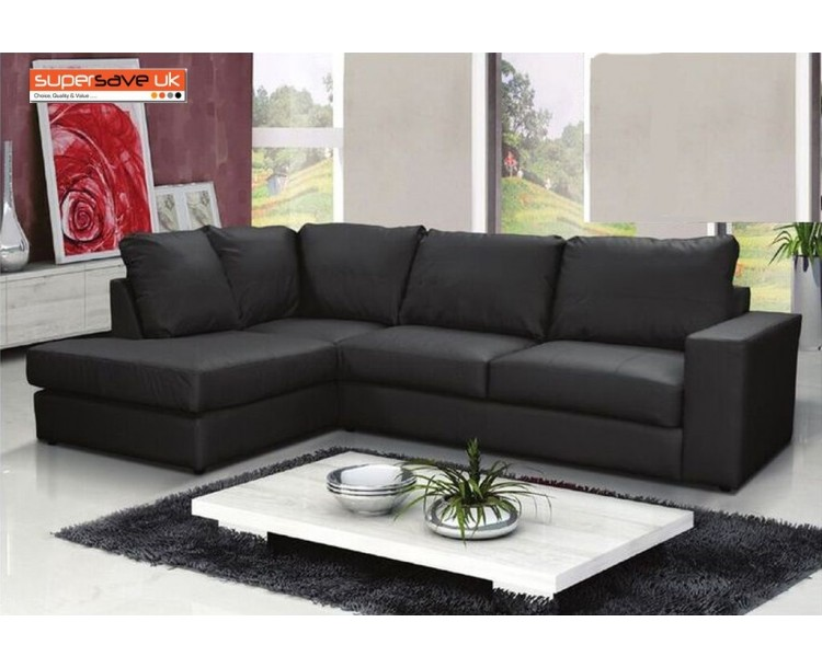 Venice Left Corner Group Sofa Black Faux PU Leather Modern