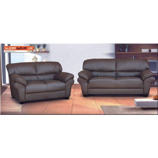 Polo 3+2 Seater Sofa Set Two Piece Suite Brown Faux PU Leather