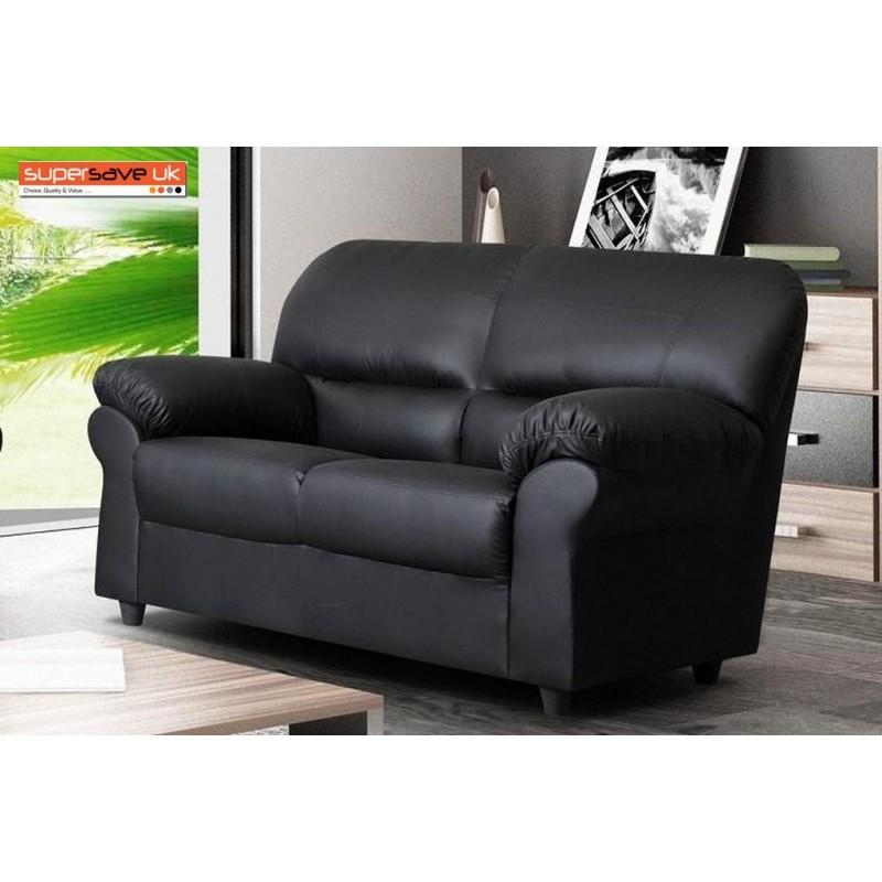 Polo 2 Seater Sofa Black Faux PU Leather Modern Contemporary