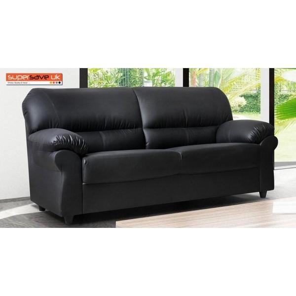 Polo 3 Seater Sofa Black Faux PU Leather Modern Contemporary