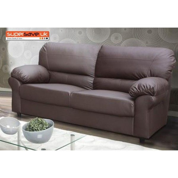 Polo 3 Seater Sofa Brown Faux PU Leather Modern Contemporary