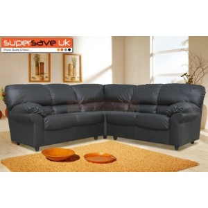 Polo Corner Group Sofa Black Faux PU Leather Modern Contemporary