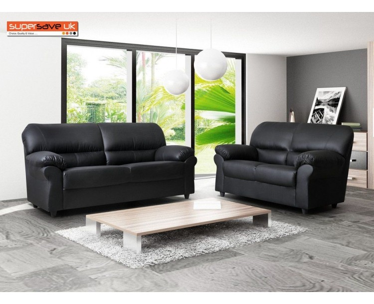Polo Black 3+2 Seater Sofa Set Two Piece Suite Faux PU Leather