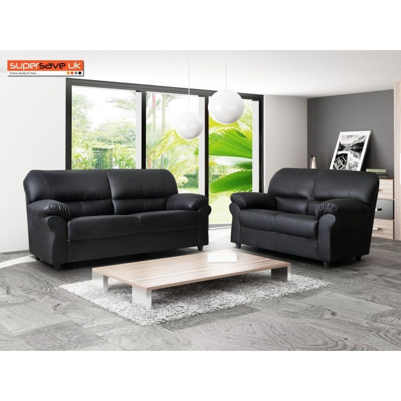Excellent Polo Black 3 2 Seater Sofa Set Two Piece Suite Faux Pu Leather Pdpeps Interior Chair Design Pdpepsorg