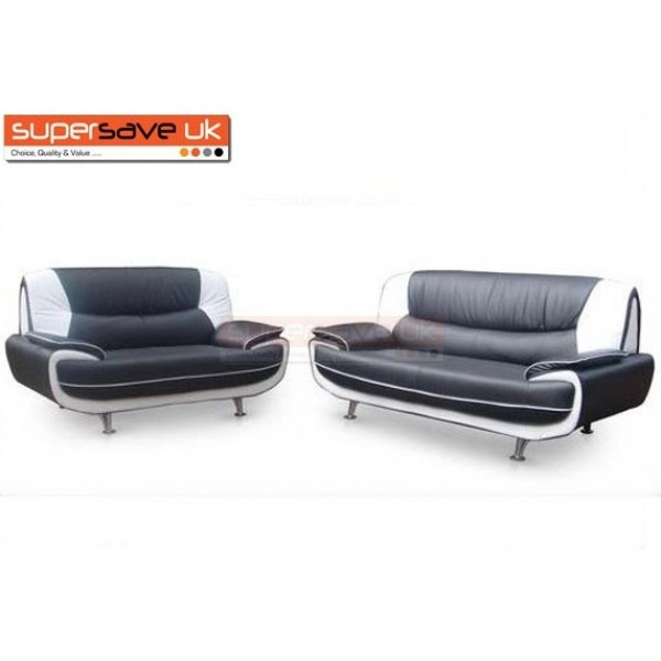 Lewis 3+2 Seater Sofa Set Two Piece Suite Black / White Faux Leather