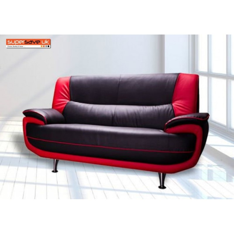 Lewis 2 Seater Sofa Black Red Faux Pu Leather Contemporary